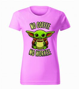 Damski Tshirt Baby Yoda - No coffee no workee